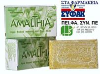 Σαπούνι AMALTHIA από λάδι ελιάς και αγριοκρεμμύδα Κρήτης κατάλληλο για τριχόπτωση και δερματικά προβλήματα.